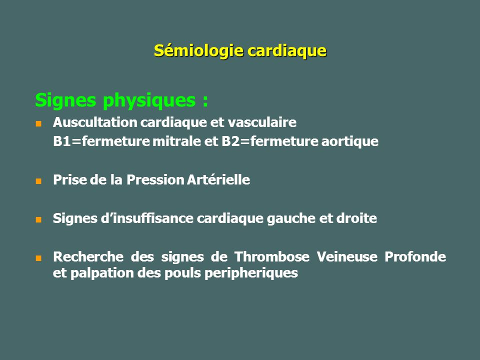 Insuffisance cardiaque Diagnostic de lINSUFFISANCE CARDIAQUE DROITE Diagnostic de lINSUFFISANCE CARDIAQUE DROITE Signes fonctionnels Signes fonctionnels -Hépatalgie d effort -Souvent associée à des troubles digestifs (dyspepsie, ballonnement...) -Puis hépatalgie de repos -La dyspnée ne faut pas partie stricto sensu du tableau d insuffisance cardiaque droite mais est souvent présente, soit en raison de la pathologie pulmonaire causale, soit parce qu il existe une insuffisance cardiaque gauche à l origine du retentissement sur le coeur droit.