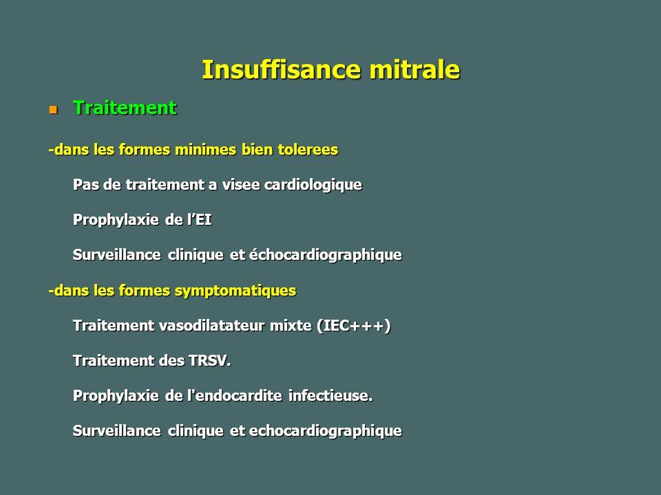 Insuffisance mitrale Traitement Traitement -dans les formes minimes bien tolerees Pas de traitement a visee cardiologique Prophylaxie de lEI Surveillance clinique et échocardiographique -dans les formes symptomatiques Traitement vasodilatateur mixte (IEC+++) Traitement des TRSV.