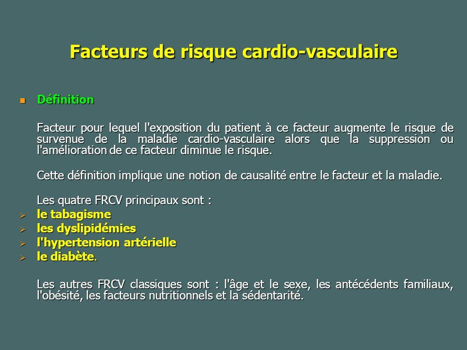 Facteurs de risque cardio-vasculaire Définition Définition Facteur pour lequel l exposition du patient à ce facteur augmente le risque de survenue de la maladie cardio-vasculaire alors que la suppression ou l amélioration de ce facteur diminue le risque.