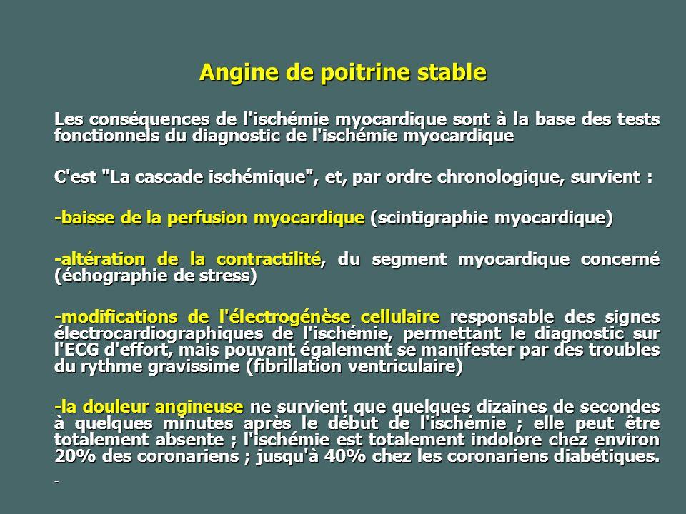 Angine de poitrine stable Les conséquences de l ischémie myocardique sont à la base des tests fonctionnels du diagnostic de l ischémie myocardique C est La cascade ischémique , et, par ordre chronologique, survient : -baisse de la perfusion myocardique (scintigraphie myocardique) -altération de la contractilité, du segment myocardique concerné (échographie de stress) -modifications de l électrogénèse cellulaire responsable des signes électrocardiographiques de l ischémie, permettant le diagnostic sur l ECG d effort, mais pouvant également se manifester par des troubles du rythme gravissime (fibrillation ventriculaire) -la douleur angineuse ne survient que quelques dizaines de secondes à quelques minutes après le début de l ischémie ; elle peut être totalement absente ; l ischémie est totalement indolore chez environ 20% des coronariens ; jusqu à 40% chez les coronariens diabétiques.