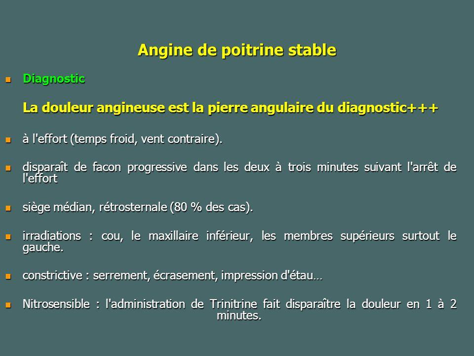 Angine de poitrine stable Diagnostic Diagnostic La douleur angineuse est la pierre angulaire du diagnostic+++ à l effort (temps froid, vent contraire).