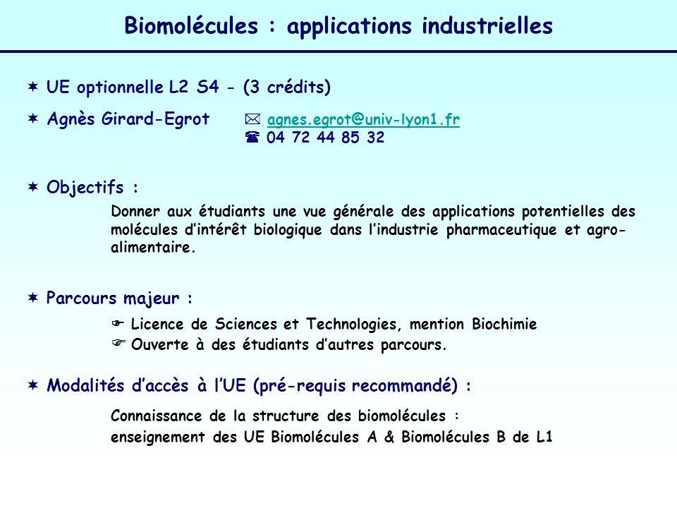 Biomolécules : applications industrielles UE optionnelle L2 S4 - (3 crédits) Agnès Girard-Egrot Modalités daccès à lUE (pré-requis recommandé) : agnes