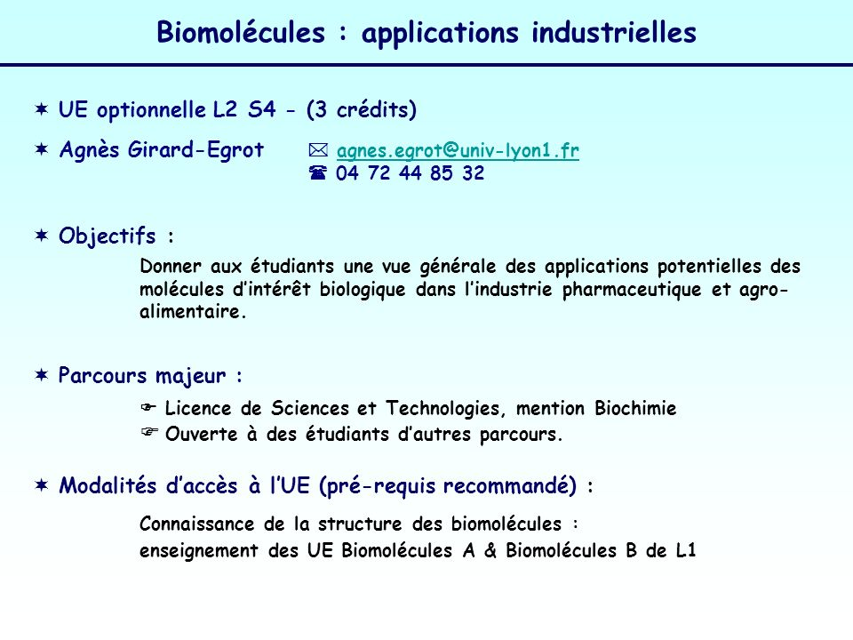 Biomolécules : applications industrielles 2.