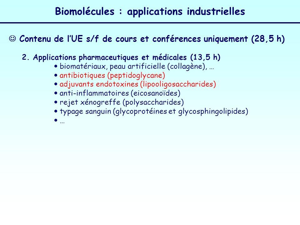 Biomolécules : applications industrielles 2. Applications pharmaceutiques et médicales (13,5 h) biomatériaux, peau artificielle (collagène), … antibio