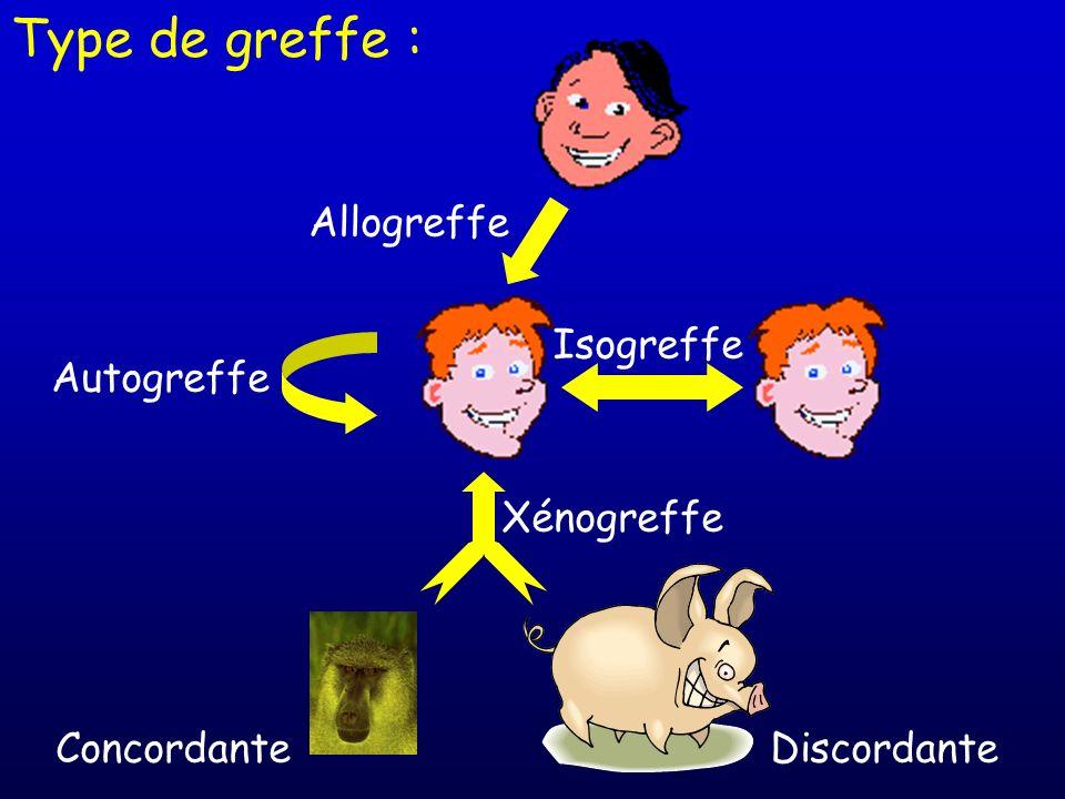 Isogreffe Autogreffe Allogreffe Xénogreffe DiscordanteConcordante Type de greffe :