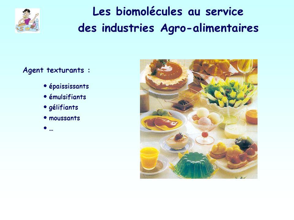Les biomolécules au service des industries Agro-alimentaires Agent texturants : épaississants émulsifiants gélifiants moussants …