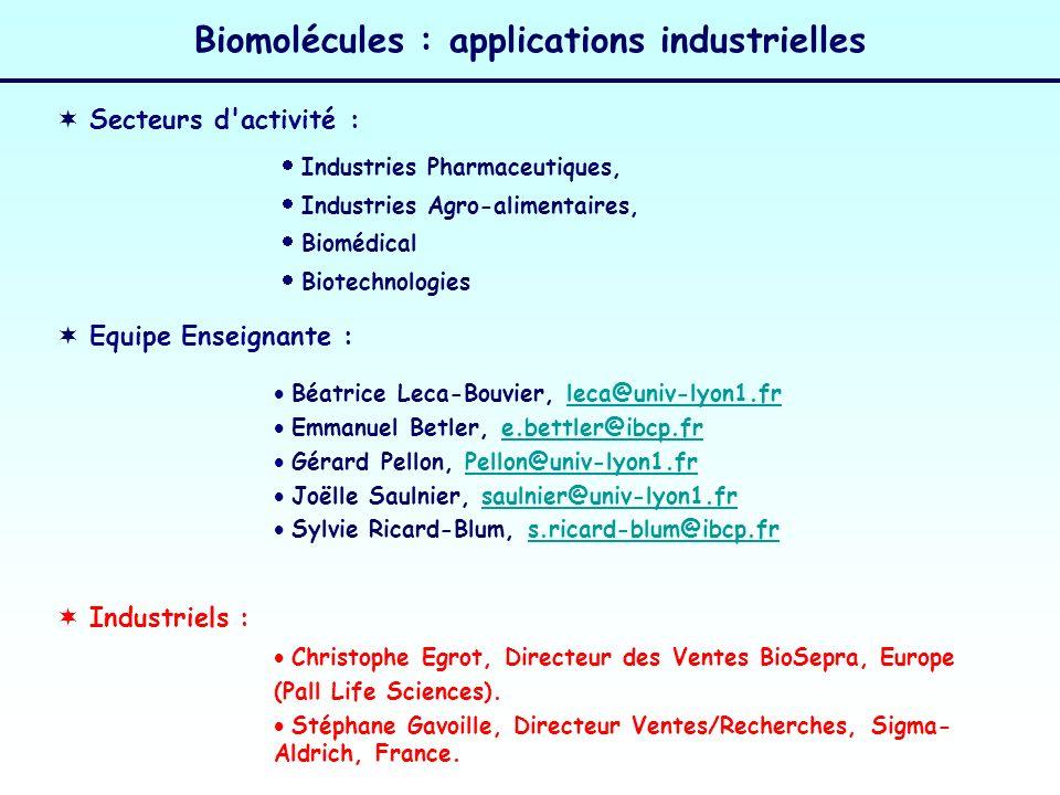 Secteurs d'activité : Industries Pharmaceutiques, Industries Agro-alimentaires, Biomédical Biotechnologies Biomolécules : applications industrielles E