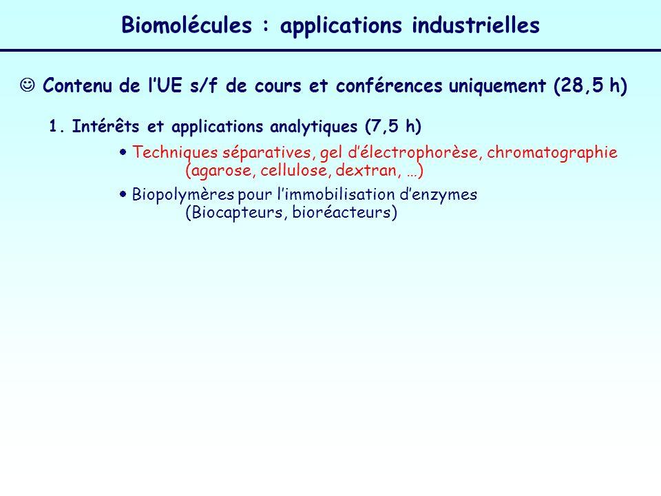 Biomolécules : applications industrielles 1. Intérêts et applications analytiques (7,5 h) Techniques séparatives, gel délectrophorèse, chromatographie