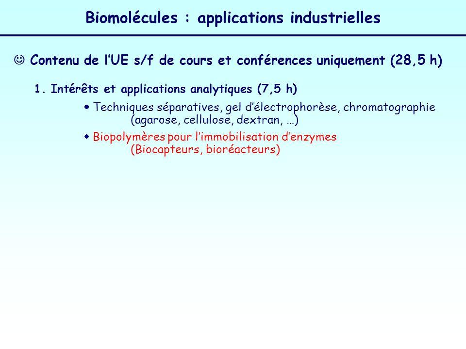 Biomolécules : applications industrielles 3.