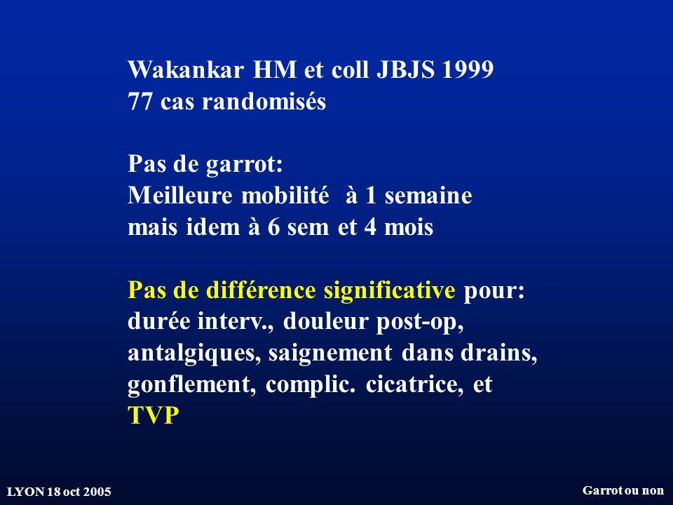 LYON 18 oct 2005 Wakankar HM et coll JBJS 1999 77 cas randomisés Pas de garrot: Meilleure mobilité à 1 semaine mais idem à 6 sem et 4 mois Pas de diff