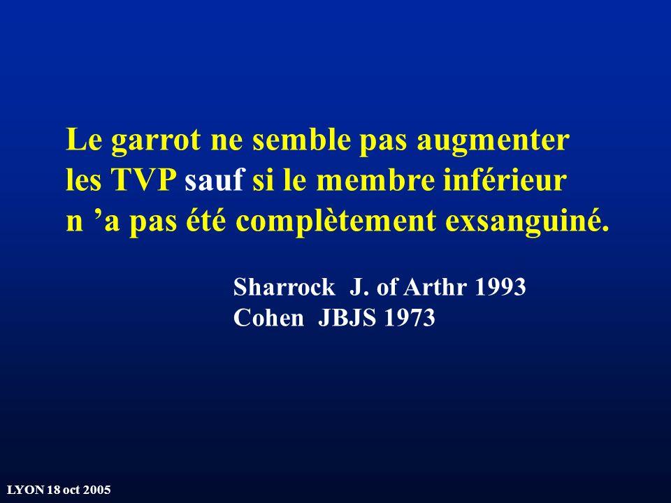 LYON 18 oct 2005 Le garrot ne semble pas augmenter les TVP sauf si le membre inférieur n a pas été complètement exsanguiné. Sharrock J. of Arthr 1993