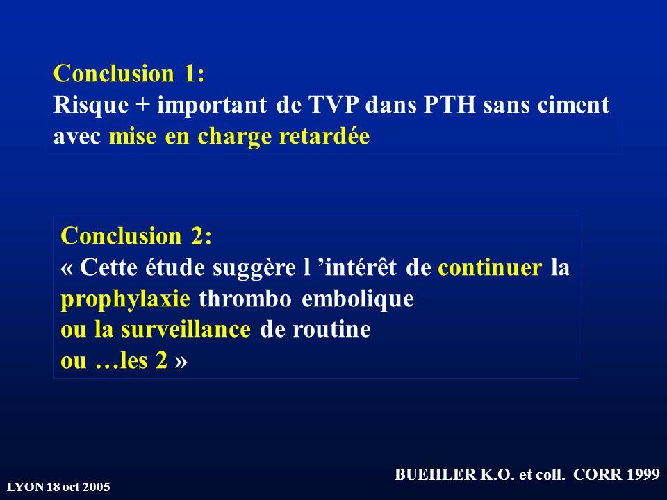 LYON 18 oct 2005 BUEHLER K.O. et coll. CORR 1999 Conclusion 1: Risque + important de TVP dans PTH sans ciment avec mise en charge retardée Conclusion