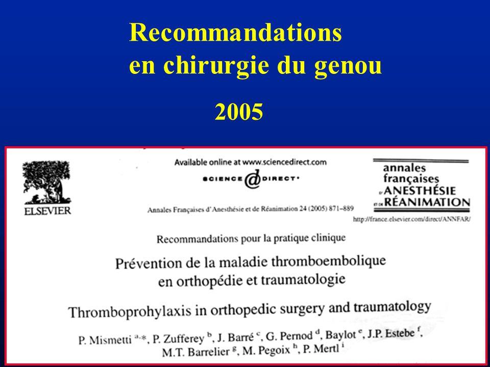 LYON 18 oct 2005 Recommandations en chirurgie du genou 2005