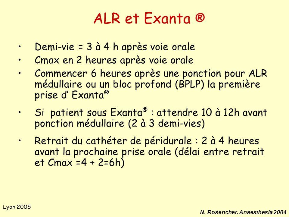 Lyon 2005 ALR et Exanta ® Demi-vie = 3 à 4 h après voie orale Cmax en 2 heures après voie orale Commencer 6 heures après une ponction pour ALR médulla