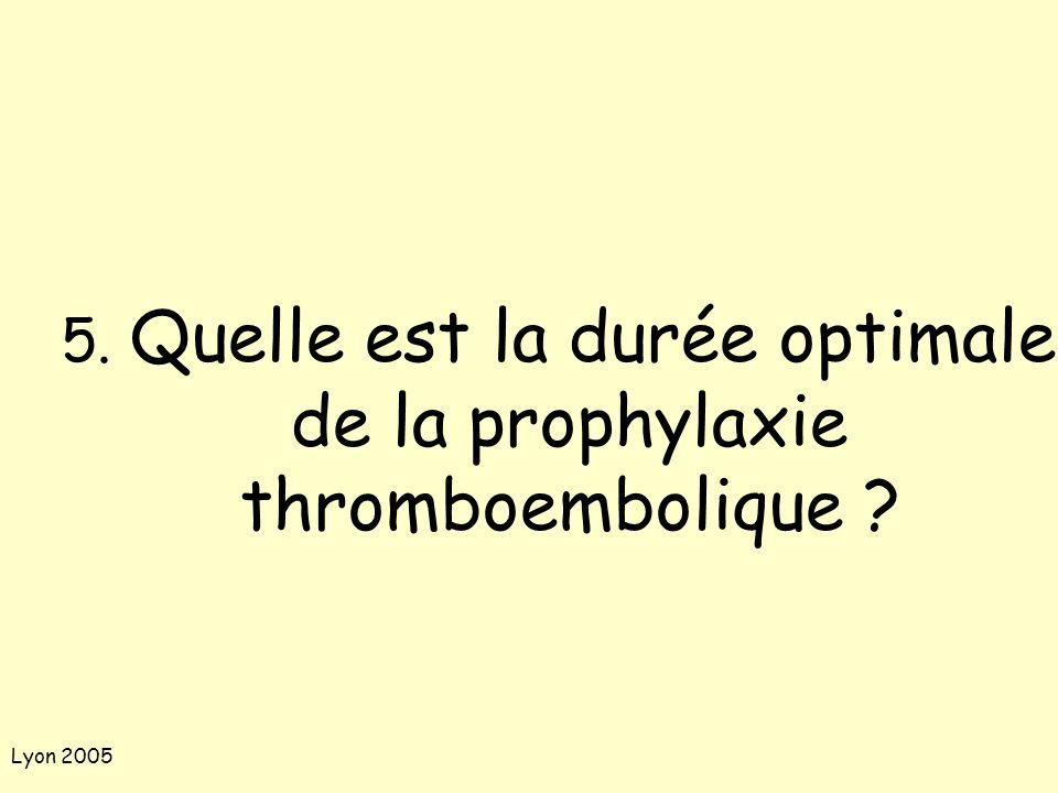 Lyon 2005 5. Quelle est la durée optimale de la prophylaxie thromboembolique ?