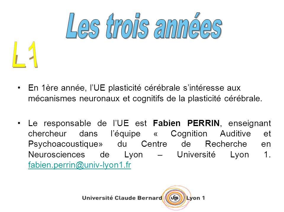 En 1ère année, lUE plasticité cérébrale sintéresse aux mécanismes neuronaux et cognitifs de la plasticité cérébrale. Le responsable de lUE est Fabien