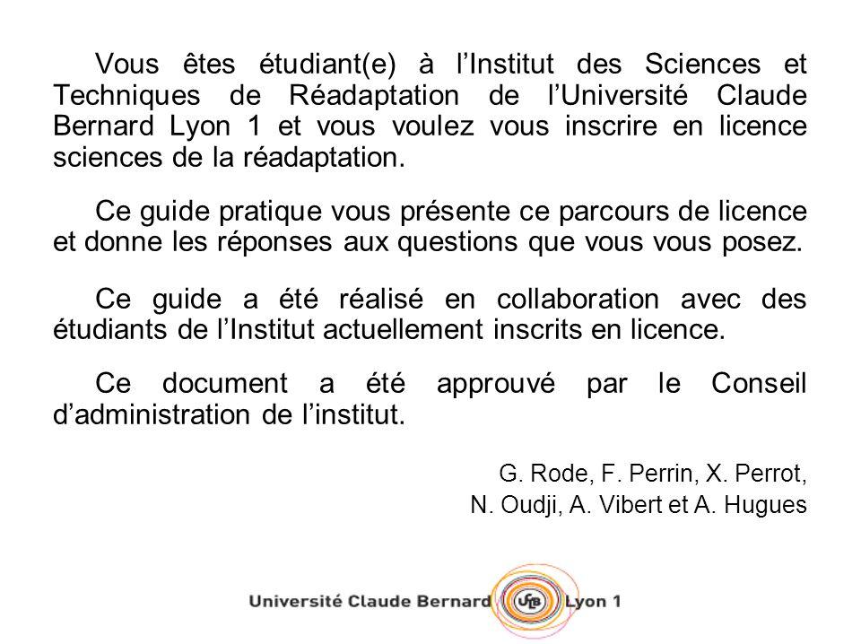 LE SITE WEB DE LUNIVERSITE –Les supports de cours des enseignants sont mis à la disposition des étudiants sur la plateforme SPIRAL (http://spiralconnect.univ-lyon1.fr)http://spiralconnect.univ-lyon1.fr –Le planning des cours est disponible sur ADEWEB (http://adeweb.univ-lyon1.fr/ade/standard/index.jsp(http://adeweb.univ-lyon1.fr/ade/standard/index.jsp) Identifiant : sante / mot de passe : lambda –De plus, il existe le site Internet de lISTR : http://istr.univ- lyon1.fr/http://istr.univ- lyon1.fr/