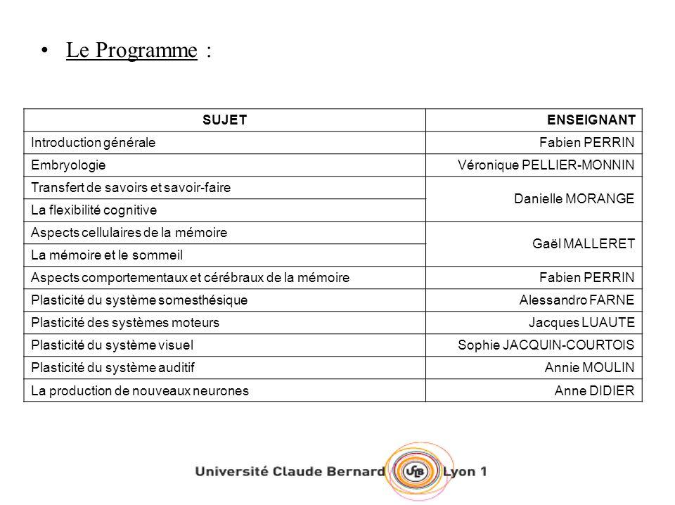 Le Programme : SUJETENSEIGNANT Introduction généraleFabien PERRIN EmbryologieVéronique PELLIER-MONNIN Transfert de savoirs et savoir-faire Danielle MO