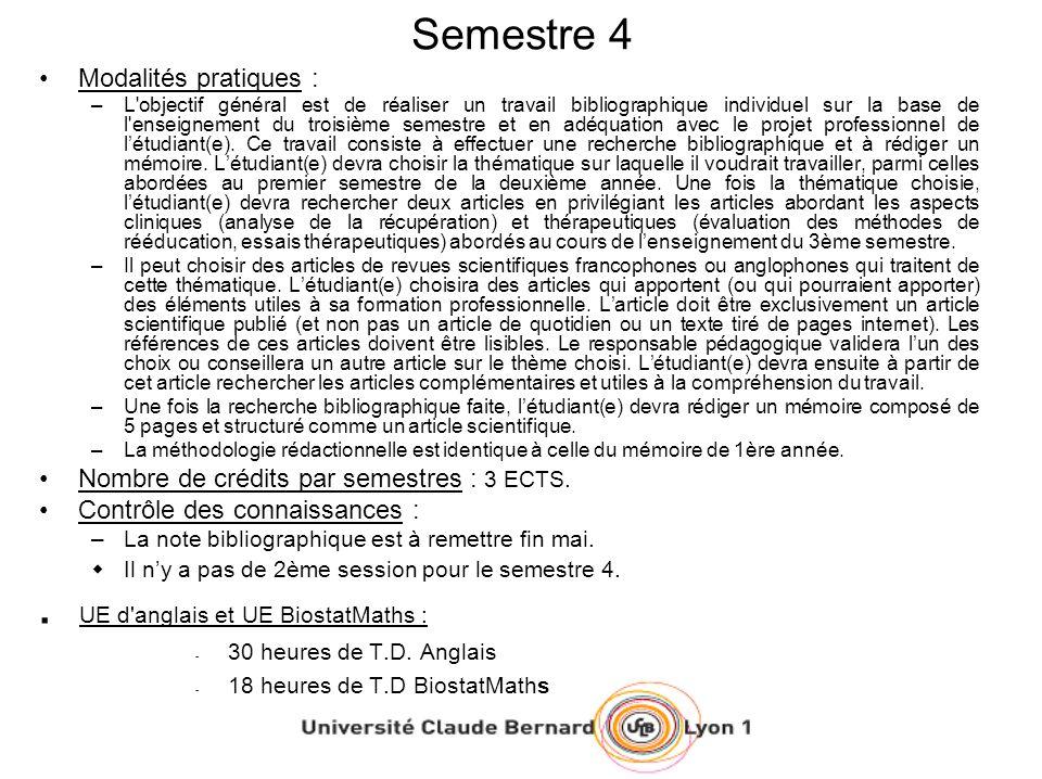 Semestre 4 Modalités pratiques : –L'objectif général est de réaliser un travail bibliographique individuel sur la base de l'enseignement du troisième