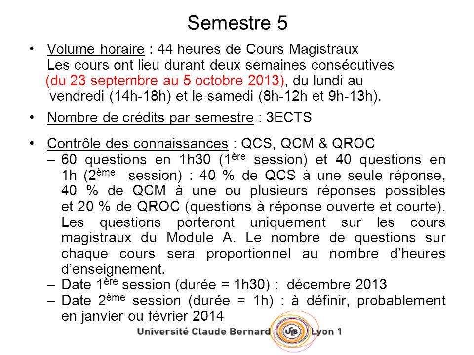 Semestre 5 Volume horaire : 44 heures de Cours Magistraux Les cours ont lieu durant deux semaines consécutives (du 23 septembre au 5 octobre 2013), du