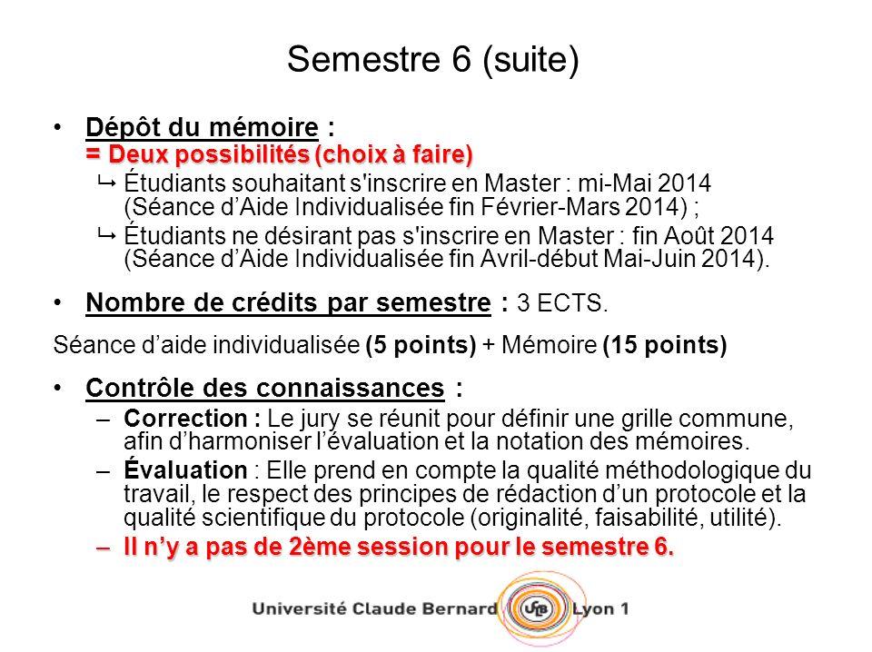 Semestre 6 (suite) = Deux possibilités (choix à faire)Dépôt du mémoire : = Deux possibilités (choix à faire) Étudiants souhaitant s'inscrire en Master