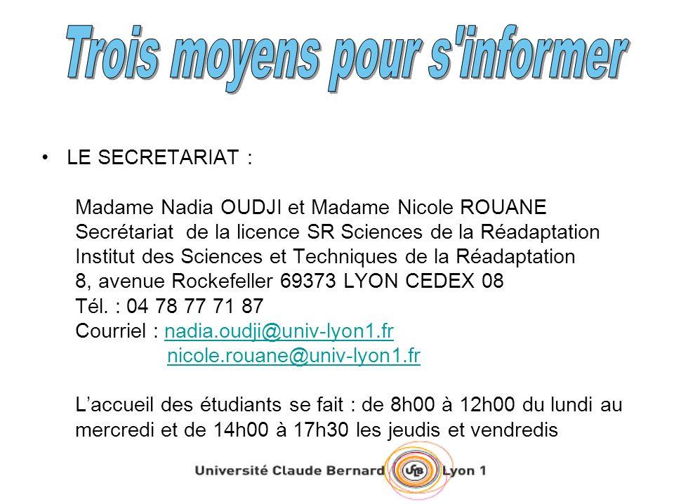 LE SECRETARIAT : Madame Nadia OUDJI et Madame Nicole ROUANE Secrétariat de la licence SR Sciences de la Réadaptation Institut des Sciences et Techniqu