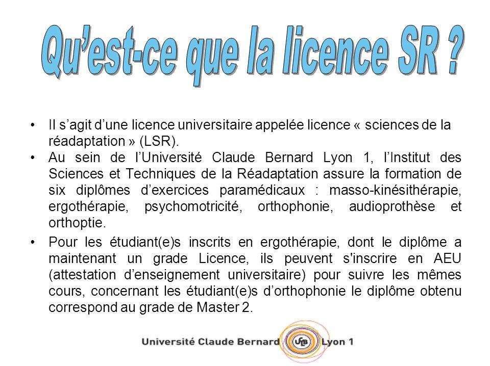 Il sagit dune licence universitaire appelée licence « sciences de la réadaptation » (LSR). Au sein de lUniversité Claude Bernard Lyon 1, lInstitut des