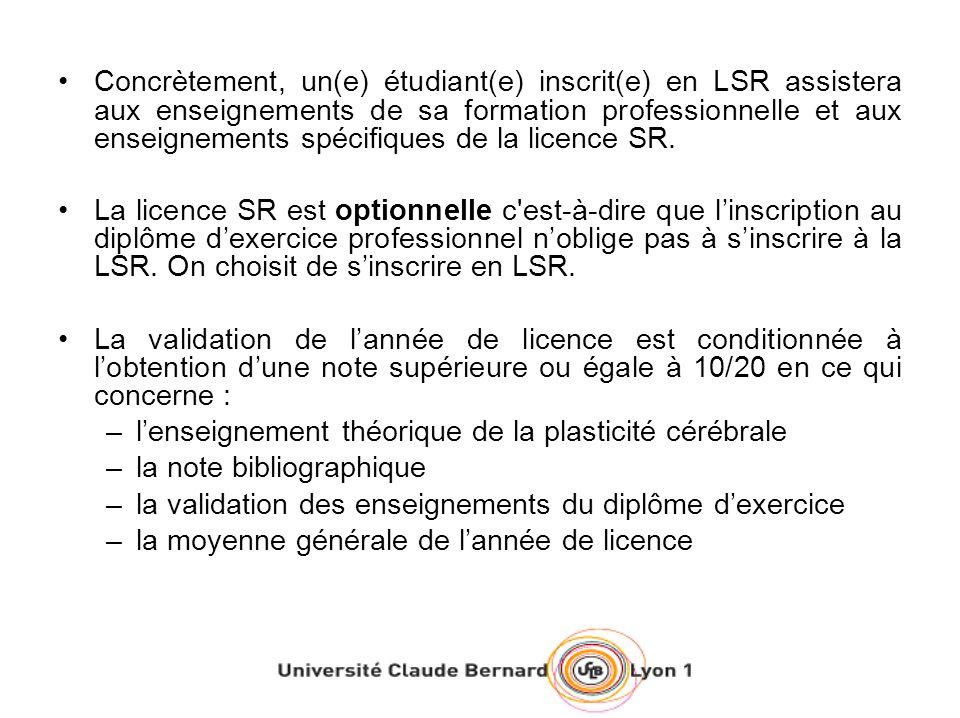 Concrètement, un(e) étudiant(e) inscrit(e) en LSR assistera aux enseignements de sa formation professionnelle et aux enseignements spécifiques de la l