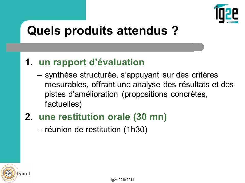Quels produits attendus ? 1.un rapport dévaluation –synthèse structurée, sappuyant sur des critères mesurables, offrant une analyse des résultats et d