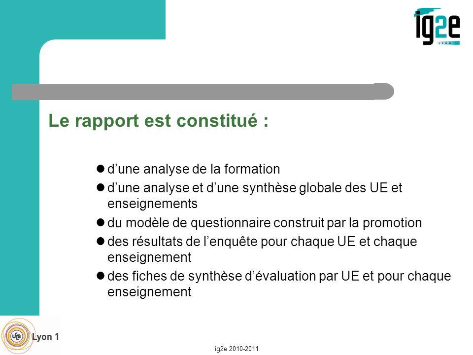 Le rapport est constitué : dune analyse de la formation dune analyse et dune synthèse globale des UE et enseignements du modèle de questionnaire const