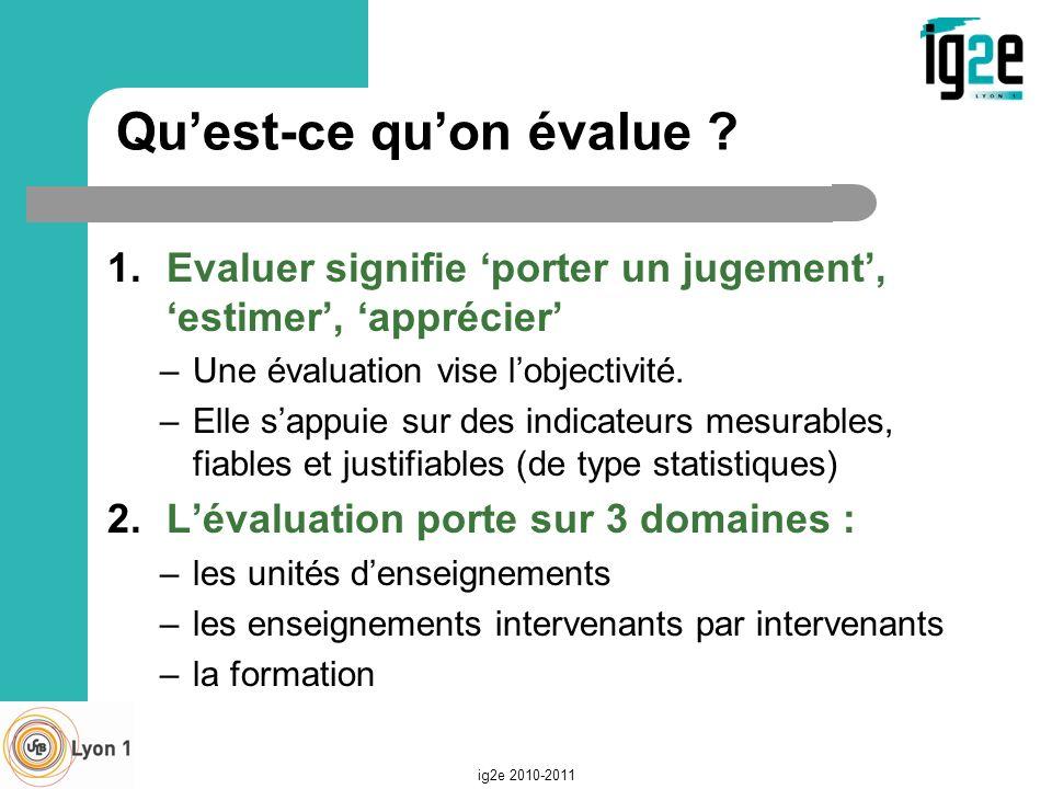 Quest-ce quon évalue ? 1.Evaluer signifie porter un jugement, estimer, apprécier –Une évaluation vise lobjectivité. –Elle sappuie sur des indicateurs