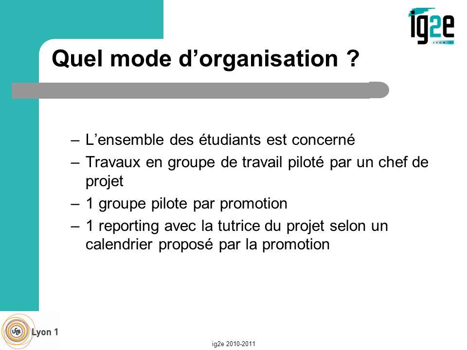Quel mode dorganisation ? –Lensemble des étudiants est concerné –Travaux en groupe de travail piloté par un chef de projet –1 groupe pilote par promot