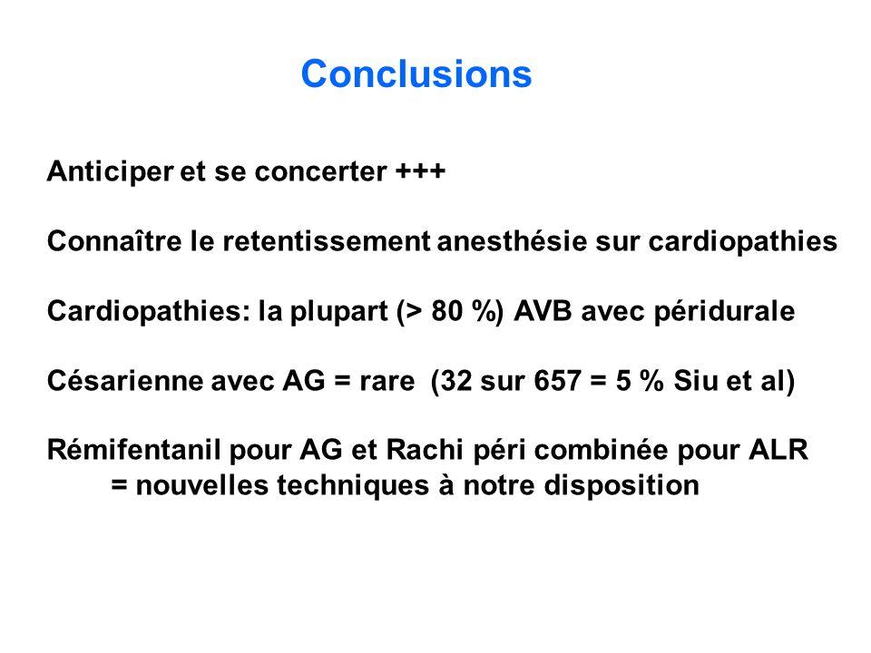 Conclusions Anticiper et se concerter +++ Connaître le retentissement anesthésie sur cardiopathies Cardiopathies: la plupart (> 80 %) AVB avec péridur
