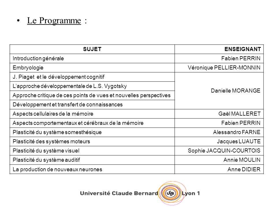 Le Programme : SUJETENSEIGNANT Introduction généraleFabien PERRIN EmbryologieVéronique PELLIER-MONNIN J. Piaget et le développement cognitif Danielle
