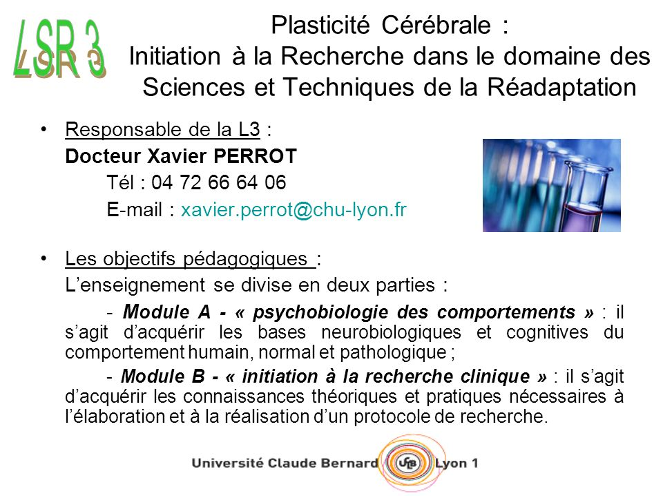 Plasticité Cérébrale : Initiation à la Recherche dans le domaine des Sciences et Techniques de la Réadaptation Responsable de la L3 : Docteur Xavier P