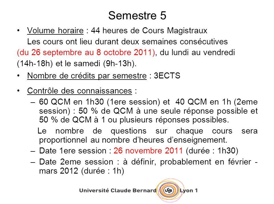 Semestre 5 Volume horaire : 44 heures de Cours Magistraux Les cours ont lieu durant deux semaines consécutives (du 26 septembre au 8 octobre 2011), du