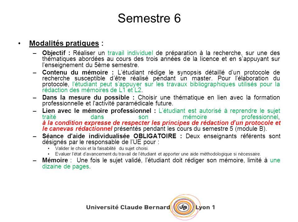 Semestre 6 Modalités pratiques : –Objectif : Réaliser un travail individuel de préparation à la recherche, sur une des thématiques abordées au cours d