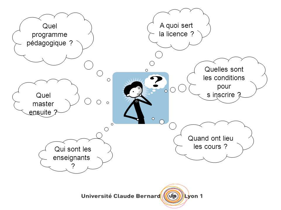 Un enseignement original et de qualité Lenseignement de la licence « Sciences de la Réadaptation » est assuré par des enseignants chercheurs de lUniversité Claude Bernard Lyon 1, des médecins du CHU, des professionnels paramédicaux ainsi que des chercheurs rattachés à lINSERM ou au CNRS.