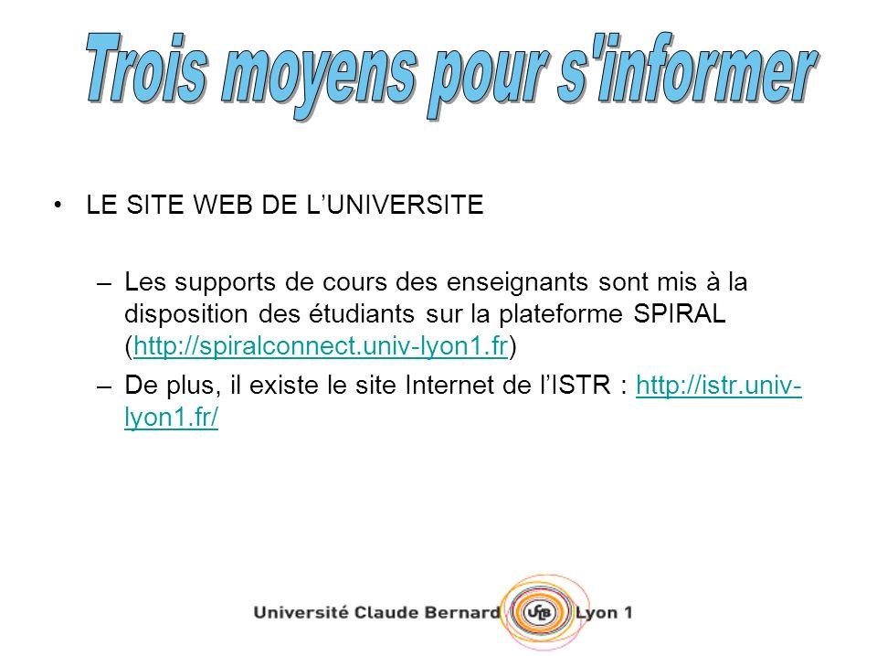 LE SITE WEB DE LUNIVERSITE –Les supports de cours des enseignants sont mis à la disposition des étudiants sur la plateforme SPIRAL (http://spiralconne