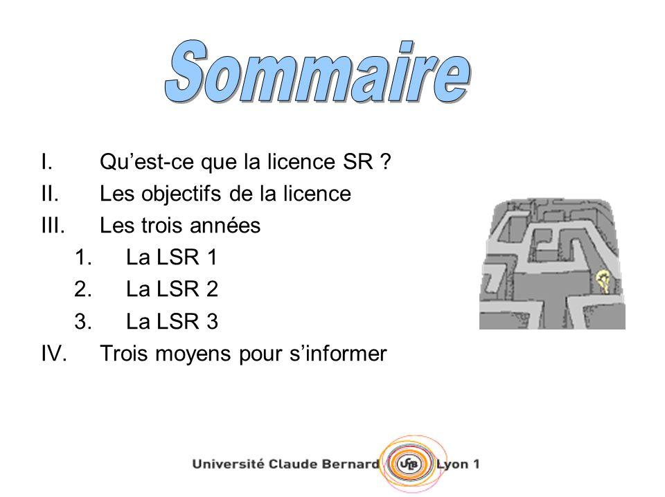 I.Quest-ce que la licence SR ? II.Les objectifs de la licence III.Les trois années 1.La LSR 1 2.La LSR 2 3.La LSR 3 IV.Trois moyens pour sinformer