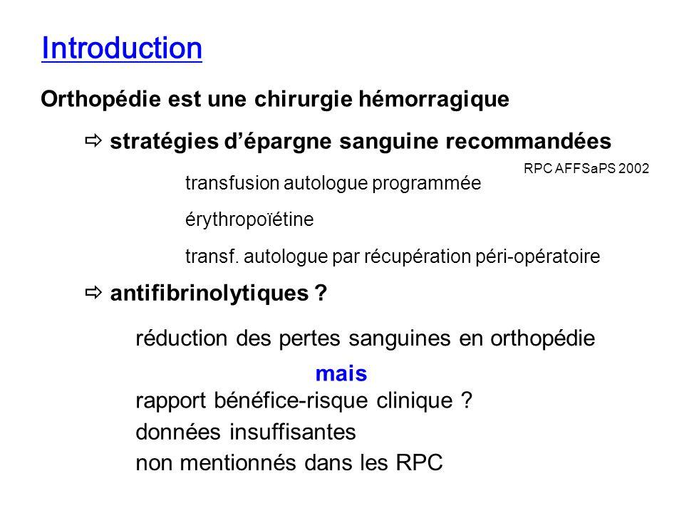 Introduction Orthopédie est une chirurgie hémorragique stratégies dépargne sanguine recommandées transfusion autologue programmée transf. autologue pa