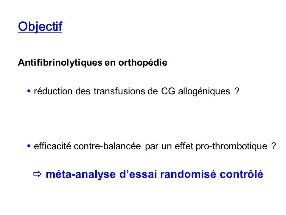 Objectif Antifibrinolytiques en orthopédie réduction des transfusions de CG allogéniques ? efficacité contre-balancée par un effet pro-thrombotique ?
