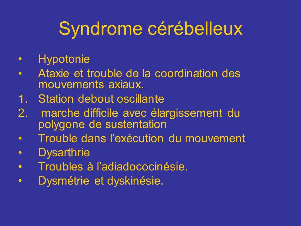 Syndrome cérébelleux Hypotonie Ataxie et trouble de la coordination des mouvements axiaux. 1.Station debout oscillante 2. marche difficile avec élargi