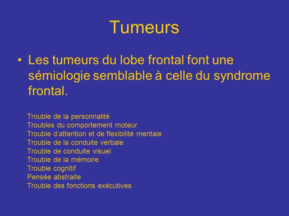Tumeurs Les tumeurs du lobe frontal font une sémiologie semblable à celle du syndrome frontal. Trouble de la personnalité Troubles du comportement mot