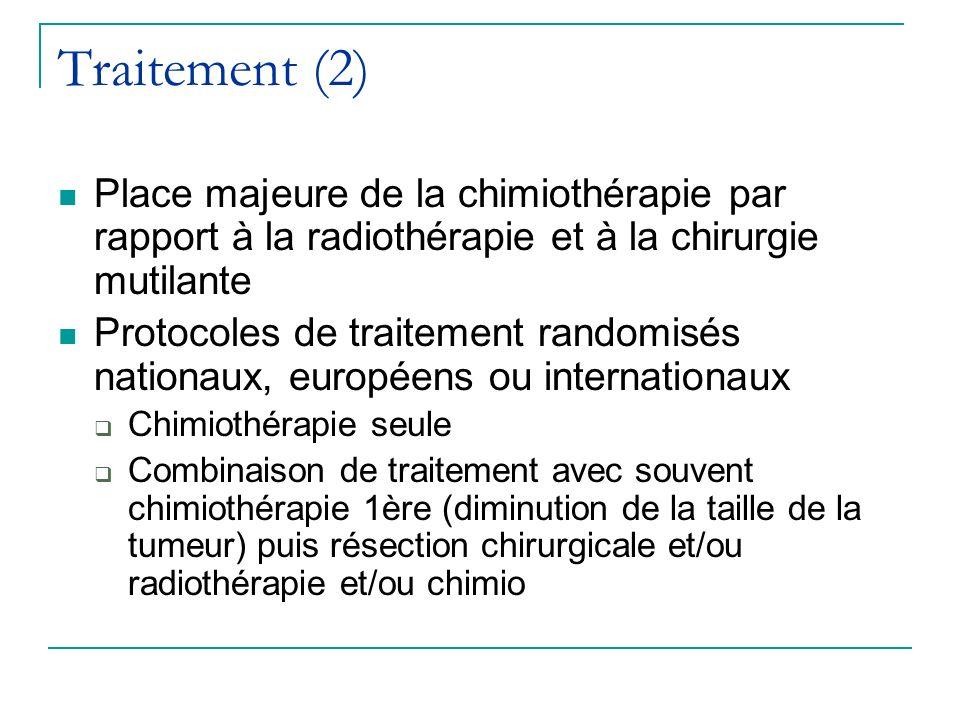 Traitement (2) Place majeure de la chimiothérapie par rapport à la radiothérapie et à la chirurgie mutilante Protocoles de traitement randomisés natio