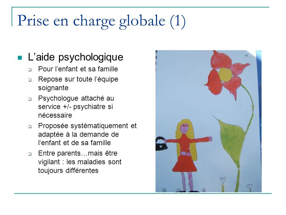 Prise en charge globale (1) Laide psychologique Pour lenfant et sa famille Repose sur toute léquipe soignante Psychologue attaché au service +/- psych