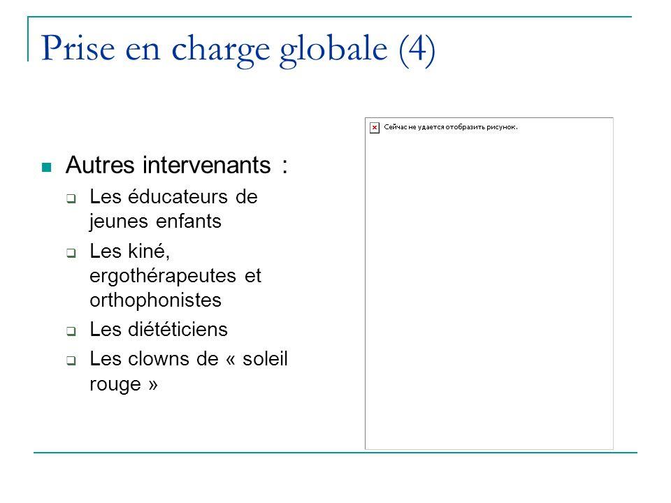 Prise en charge globale (4) Autres intervenants : Les éducateurs de jeunes enfants Les kiné, ergothérapeutes et orthophonistes Les diététiciens Les cl