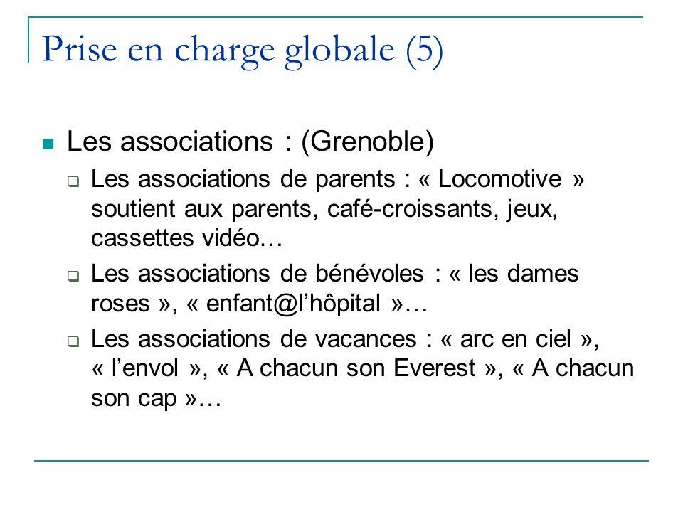 Prise en charge globale (5) Les associations : (Grenoble) Les associations de parents : « Locomotive » soutient aux parents, café-croissants, jeux, ca