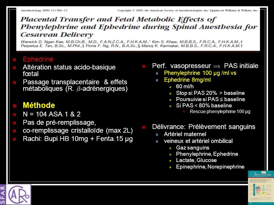 Ephedrine Altération status acido-basique fœtal Passage transplacentaire & effets métaboliques (R. -adrénergiques) Méthode N = 104 ASA 1 & 2 Pas de pr