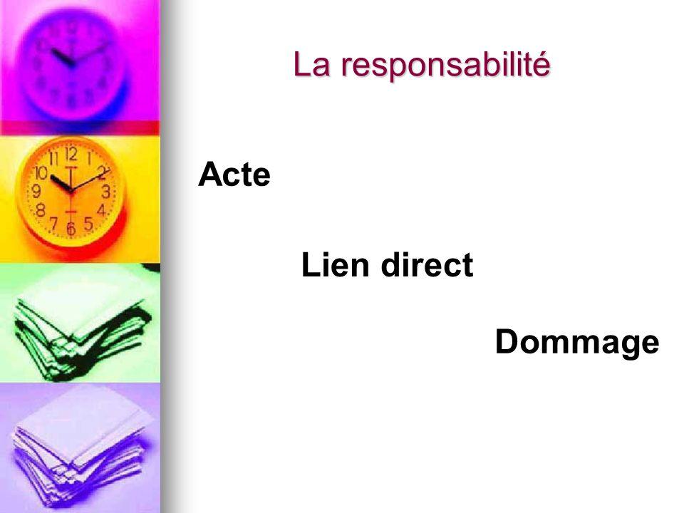 La responsabilité Acte Lien direct Dommage